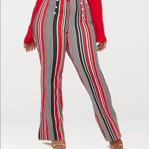 PrettyLittleThing Plus Red Striped Trousers